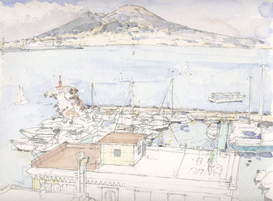 watercolor of bay with boats, lsu art faculty work
