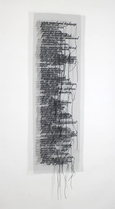 Long list with trailing thread, by Loren Schwerd