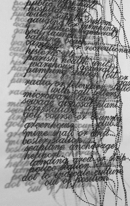 Words overlapping on netting, by Loren Schwerd