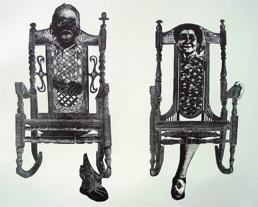 Faces of man and woman in two rocking chairs. Alejandro Arauz LSU Printmaking MFA Thesis