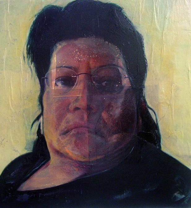 Print portrait of woman with glasses. Alejandro Arauz LSU Printmaking MFA Thesis