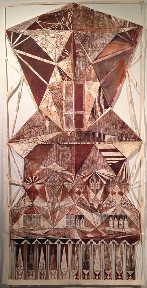 Ochre geometric patterns. Molly Miller LSU MFA printmaking