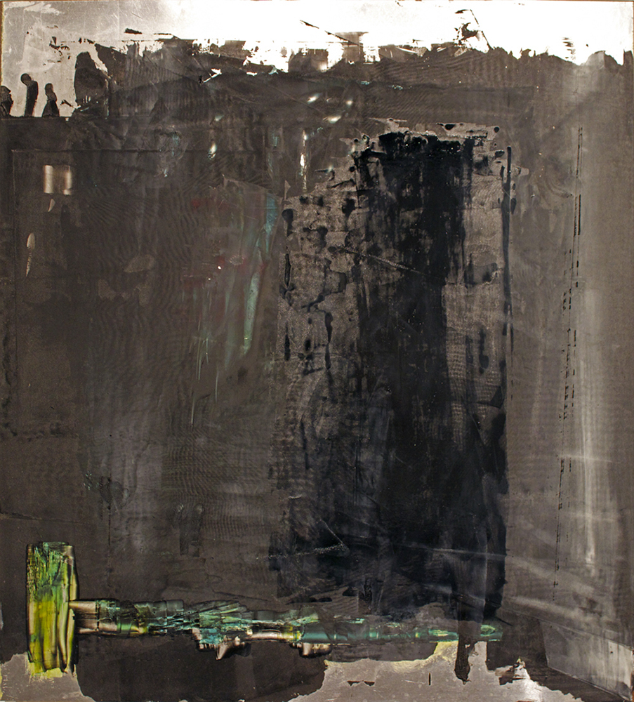 Abstract shapes, dark brown tones. James Kimura-Green LSU MFA printmaking