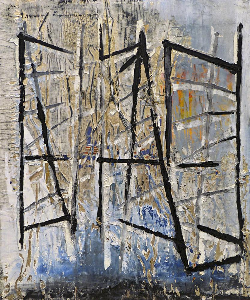 Abstract: black, blue, yellows. James Kimura-Green LSU MFA printmaking
