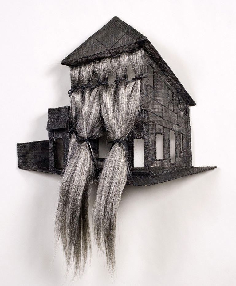 House with hair on one side, by Loren Schwerd