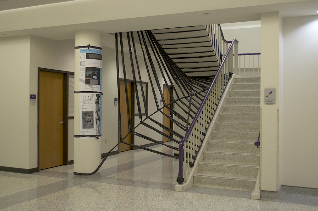 Staircase with sculpture installed, LSU ARCH 4041 Issues in Sustainability