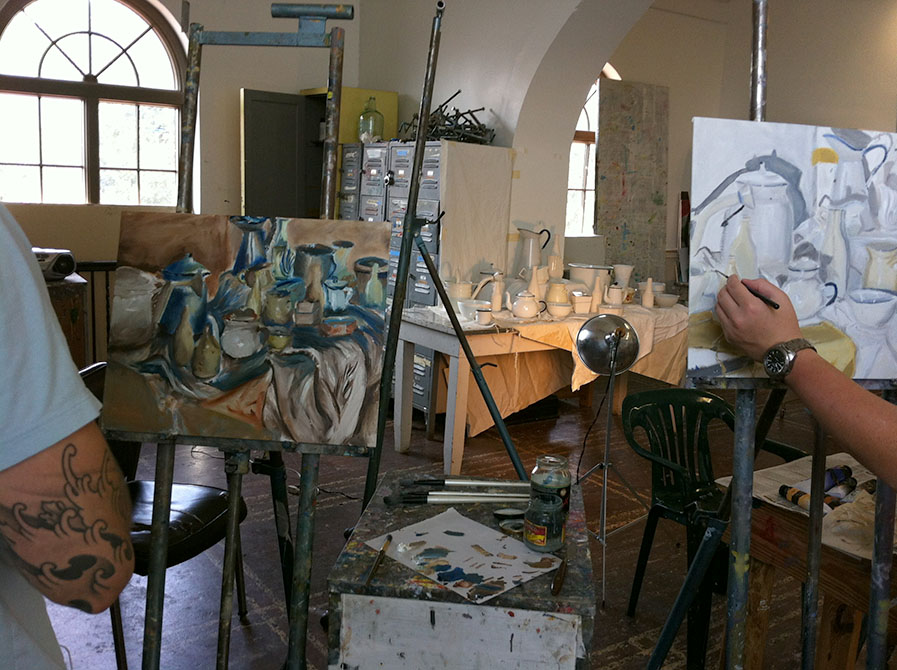 Studios with big windows and paintings
