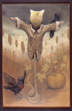 Scarecrow with two crows, pumpkins on vine. Chris Hutson LSU MFA printmaking