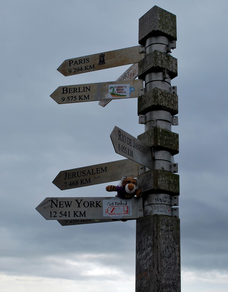 Post with wood signs pointing to cities in many directions