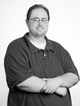 Matt Dunn portrait, black and white