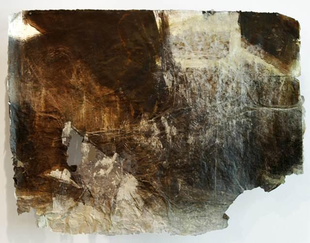 Earth tones, textured paper. May Babcock LSU MFA printmaking