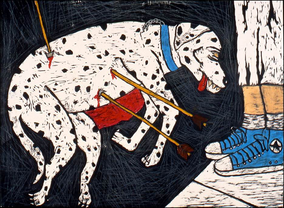 Spotted dog with arrows sticking out of torso, tongue hanging out of mouth. Feet in blue converse sneakers on side. Sean Starwars LSU MFA printmaking