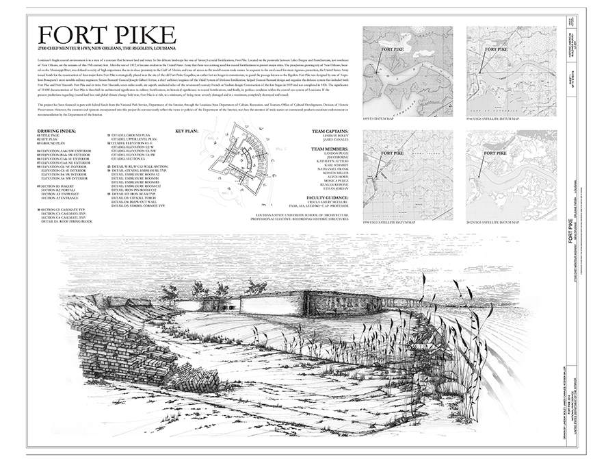Fort Pike illustration & analysis, lsu architecture student work