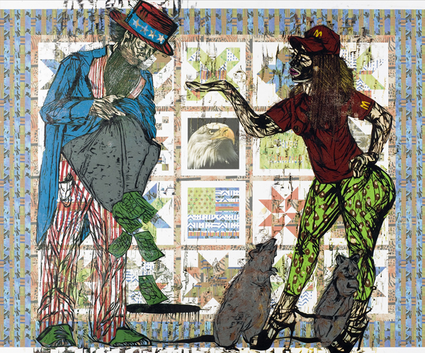 Man in patriotic suit and hat spilling bag of green money; woman in McDonalds uniform and blackface with large rodents at feet. Postage stamps in background.Katrina Andry LSU MFA printmaking