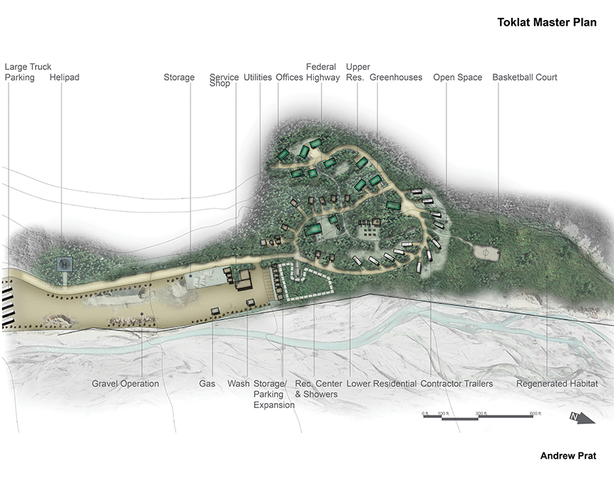 Master plan for Toklat site with parking, helipad, offices, federal highway, greenhouses, open space, basketball court. Design by LA 4008 Advanced Topics Studio student Andrew Prat
