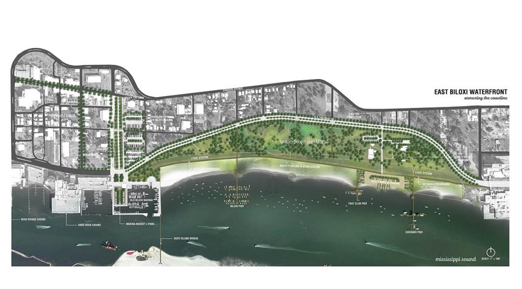 East Biloxi waterfront coastline aerial view. LA 4008 Advanced Topics Studio designs