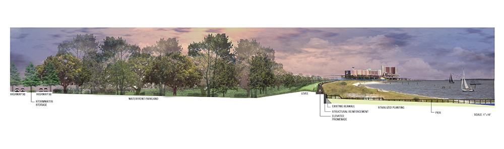 Cross section of coastal landscape. Design by LA 4008 Advanced Topics Studio students