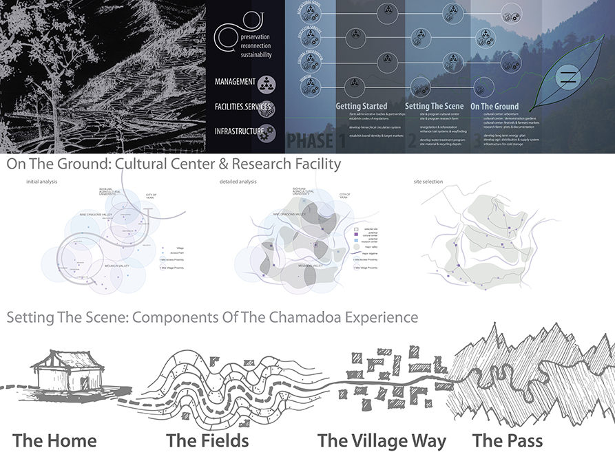 On the ground: cultural center & research facility (with graphics of management, facilities, services, infrastrcuture). Setting the Scene: Components of the Chamadoa Experience: The Home, Fields, Village Way, The Pass graphics. LA 4008 Advanced Topics Studio work, graphic