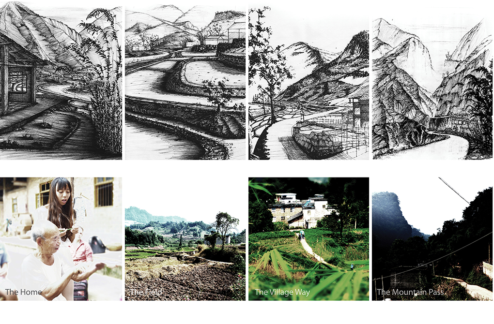 Charcoal drawings of landscapes; photographs representing the home, field, village, mountain pass. LA 4008 Advanced Topics Studio student work