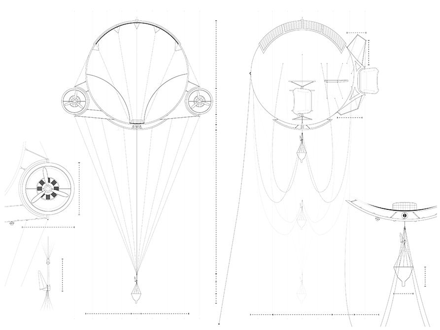 Balloon with engines drawing