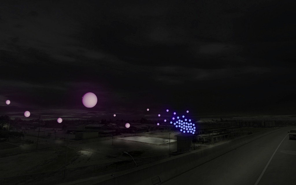 Purple moon and blue orbs hang over urban landscape