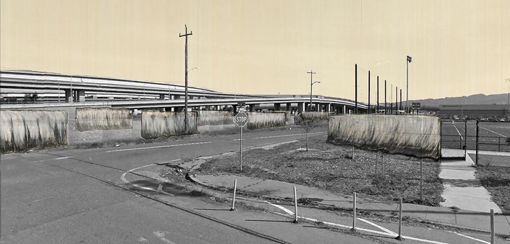 Barren land next to interstate highway