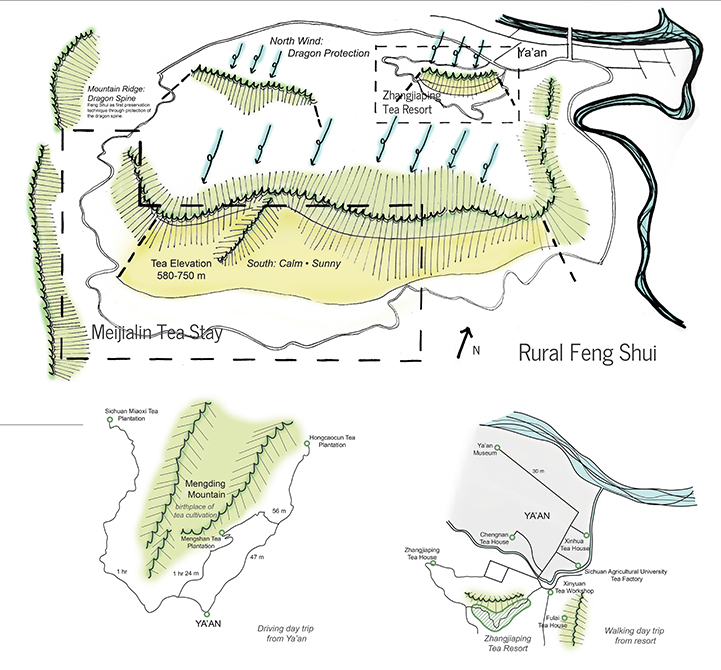 graphic of rurual feng shui, Meijialin Tea stay with elevation and wind direction indicated, mountain trails and area map. LA 4008 Advanced Topics Studio student work