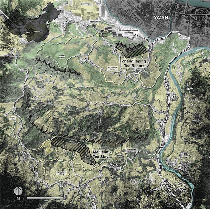 Map with landscape showing terrain, Ya'an city, Zhangjiaping Tea Resort, Meijialin Tea Stay, hiking trails, river. LA 4008 Advanced Topics Studio student work