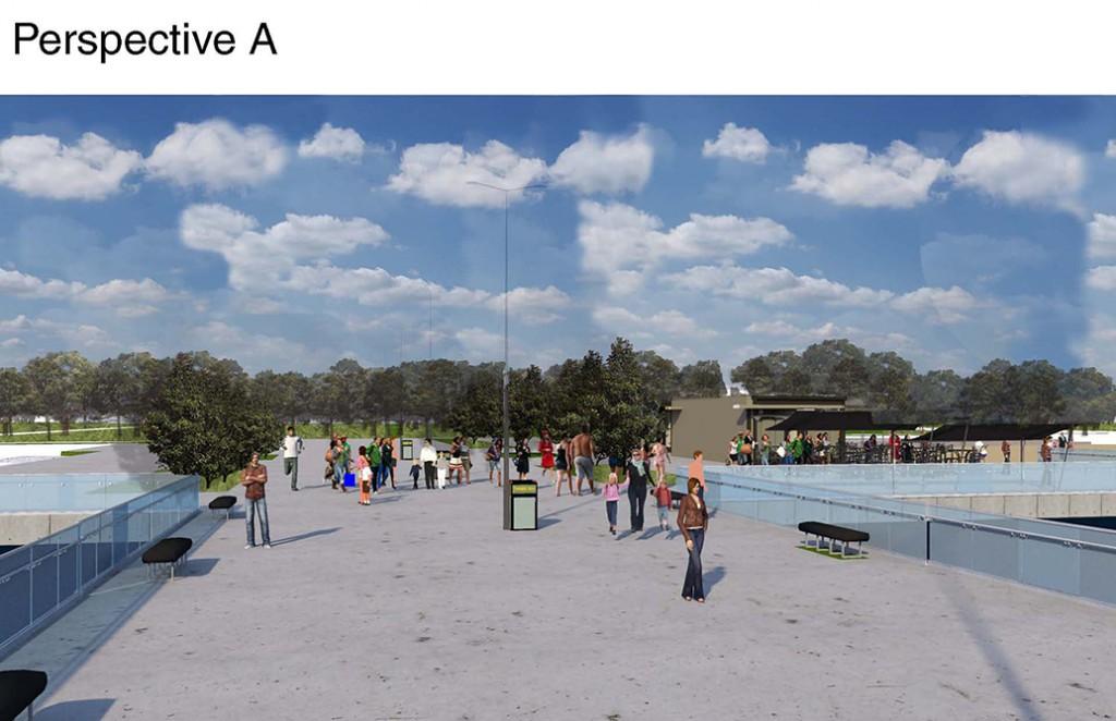 Digital simulation of park space with people walking through trees. LA 4008 Advanced Topics Studio work