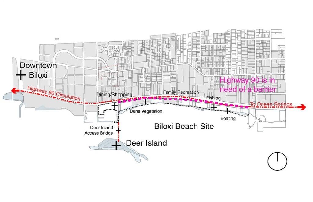 Map of Biloxi Beach site with Deer Island, bridges and highways noted, landscape sites, LA 4008 Advanced Topics Studio work