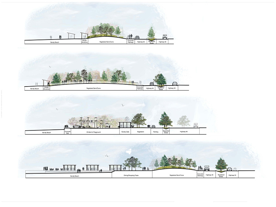 Four cross-sections of landscapes, LA 4008 Advanced Topics Studio work