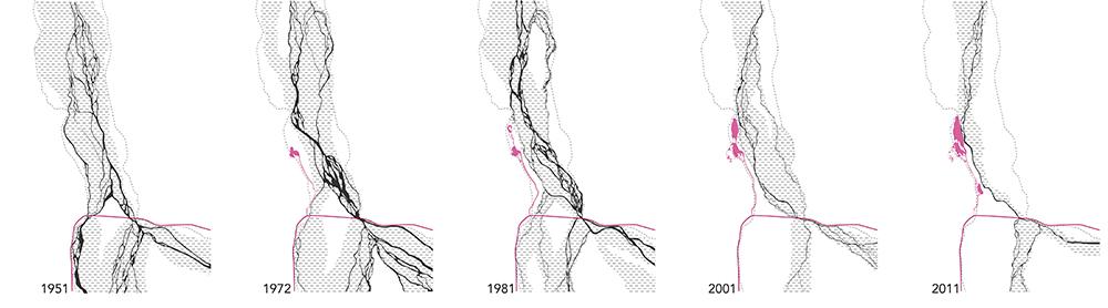Graphic of river in 1951, 1972, 1981, 2001, 2011. LA 4008 Advanced Topics Studio work