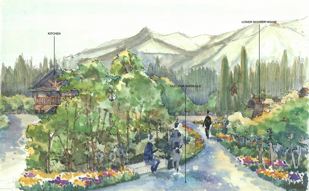 Water color of landscape with vegetation, flowers, mountains, figures; kitchen, outdoor barbeque, lower shower house. LA 4008 Advanced Topics Studio student work