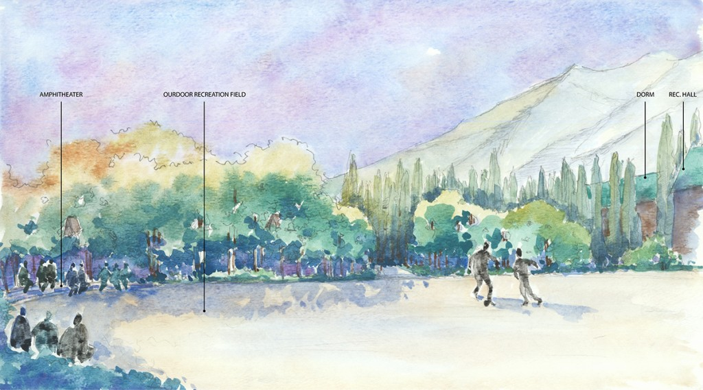 Watercolor painting of landscape perspective, with ampitheater, outdoor recreation field, dorm, rec hall, vegetation, elevated terrain in background, figures playing sports. LA 4008 Advanced Topics Studio student designs