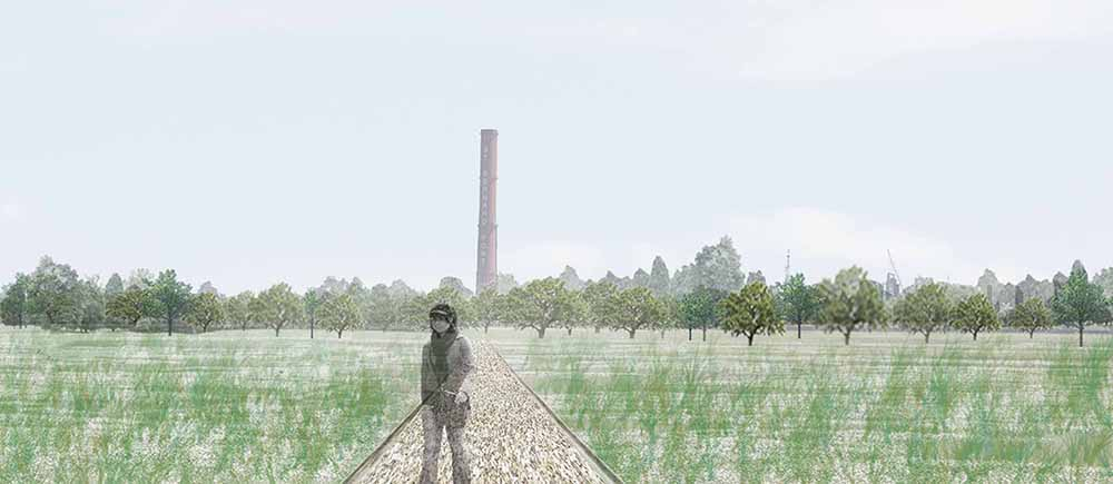 Woman in grassy field, trees and tower in background. LA 7002 Graduate Landscape Design II: Site Design