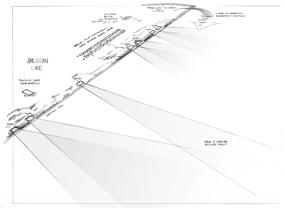 Black and white sketch of battle site zone. LA 7002 Graduate Landscape Design II: Site Design