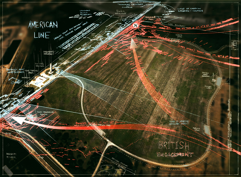 Battle plan design with American line in white, British engagement in red. LA 7002 Graduate Landscape Design II: Site Design