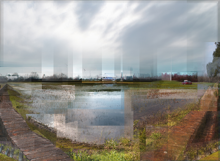 Digital montage of watery rural area. LA 7002 Graduate Landscape Design II: Site Design