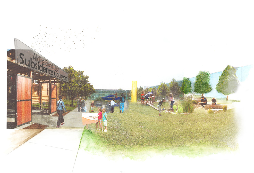 Site rendering with library courtyard. LA 7003 Graduate Landscape Design: Water Studio