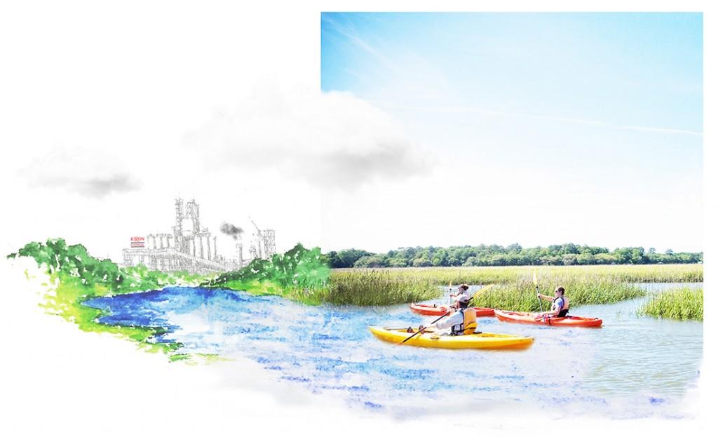 Kayakers in marsh. LA 7003 Graduate Landscape Design: Water Studio