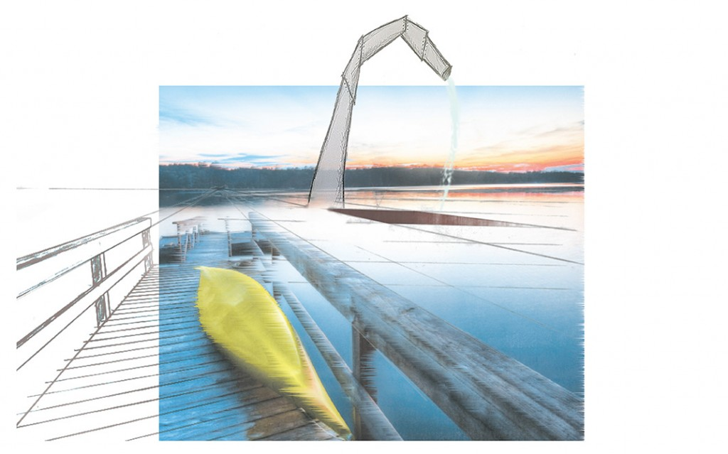 Image of straw-like structure coming out of lake, view from dock. LA 7003 Graduate Landscape Design: Water Studio