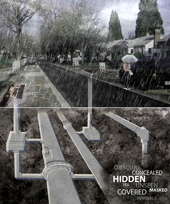 Image of hidden pipes under residential street. LA 7003 Graduate Landscape Design: Water Studio