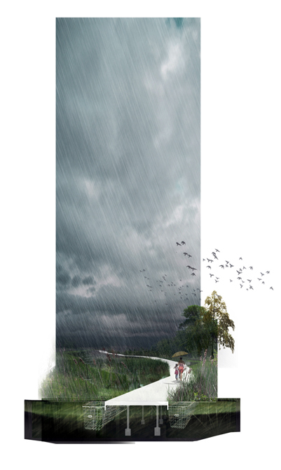 Image of rainy landscape, person with umbrella walking on path. LA 7003: Graduate Landscape Design III: Community Design