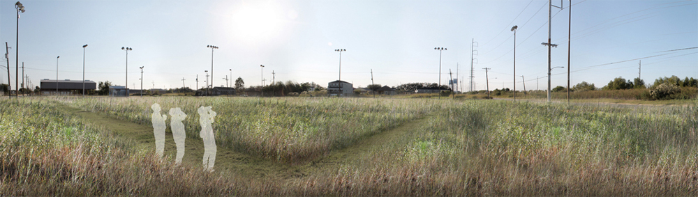 Field with power lines, figures. LA 7003: Graduate Landscape Design III: Community Design