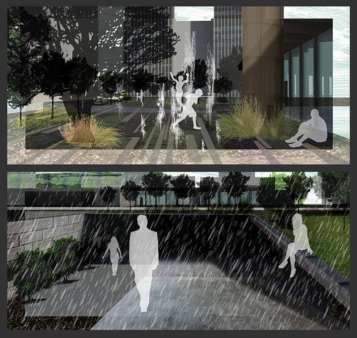 Rendering of fountain outside building, covered walkway with trees above. LA 7003 Graduate Landscape Design: Water Studio
