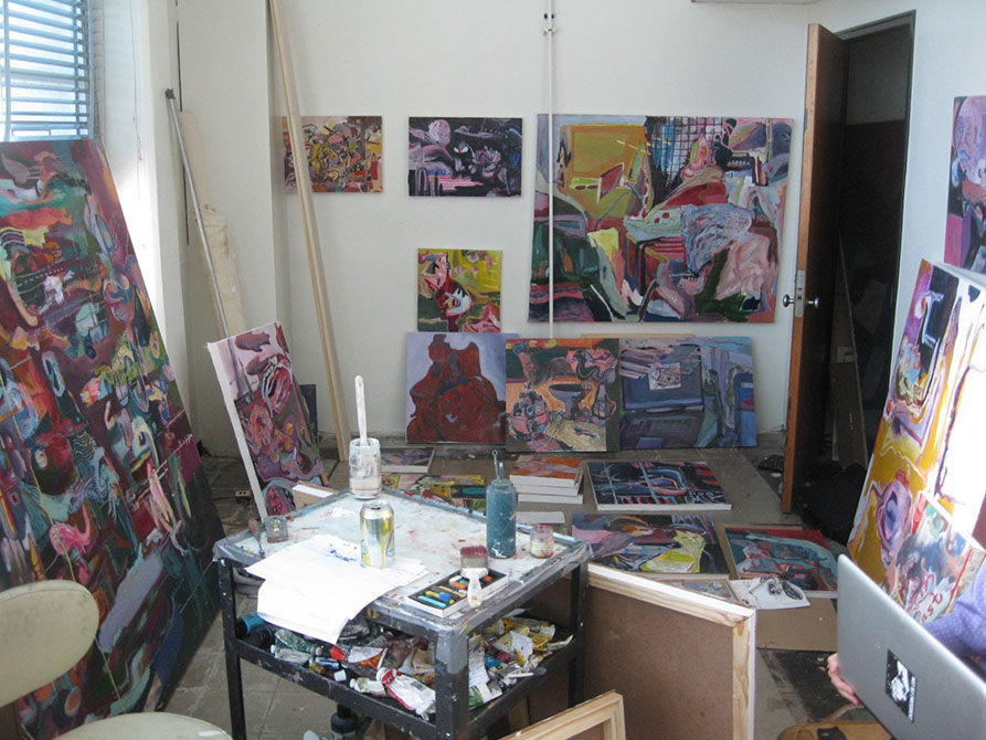 lsu mfa studio filled with paintings