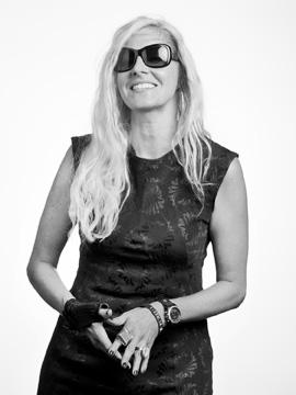 Ursula Emery McClure in sunglasses, black and white portrait