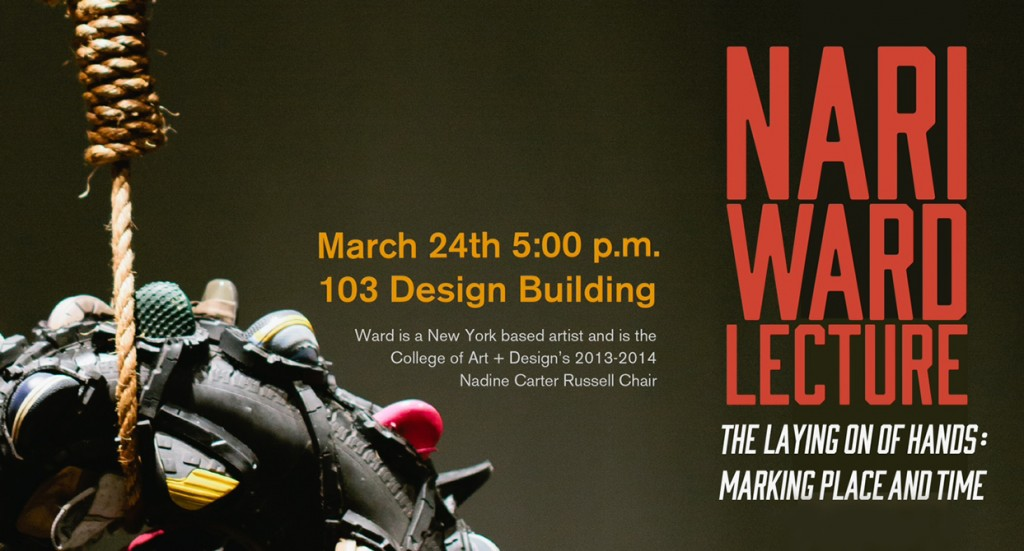 Graphic poster advertising the Nari Ward Lecture March 24, 2014