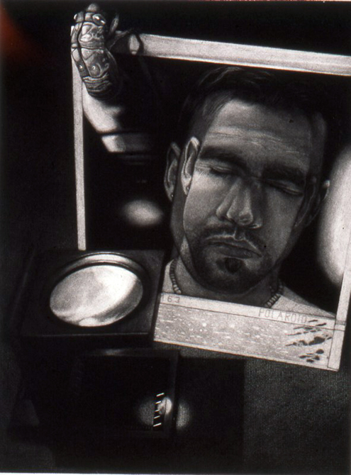 Polaroid portrait of young man with beard, eyes closed. Black and white. Ryan O'Malley LSU MFA printmaking