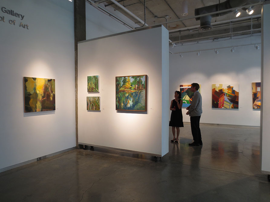 lsu glassell gallery, whitewalls with colorful paintings